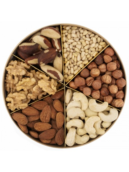 Подарочная круглая коробка орехов Nuts Box Premium Br