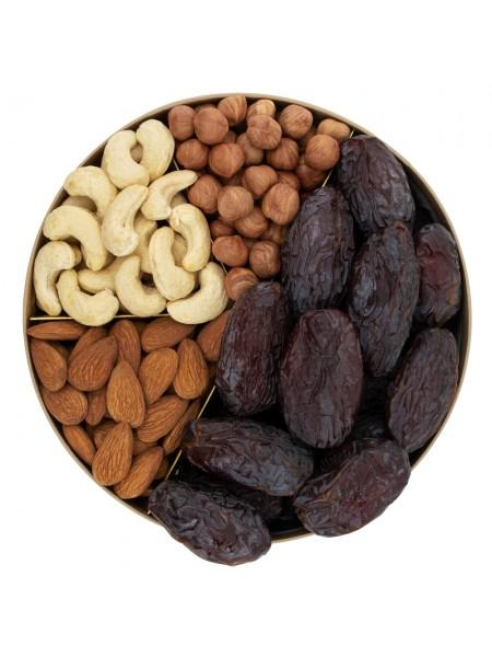Подарочная круглая коробка орехов с финиками Nuts Box Premium Dates