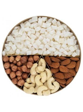 Подарочная круглая коробка орехов с кокосом Nuts Box Premium Coconut