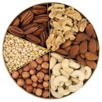 Подарочная круглая коробка орехов Nuts Box Premium Pecan