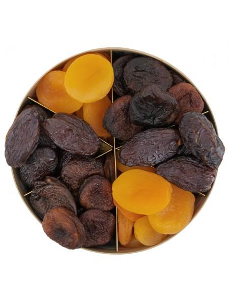 Подарочная круглая коробка с финиками и курагой Nuts Box Premium Super Jumbo