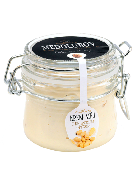 Крем-мёд Медолюбов с кедровым орехом (бугель) 250 мл