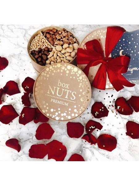Подарочная круглая коробка орехов для любимого человека Nuts Box Premium Love