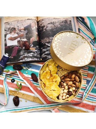 Подарочная круглая коробка орехов с ананасом Nuts Box Premium PineApple